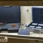 Q's creations: VR glasses and briefcase with diamonds and explosives (Die Another Day)