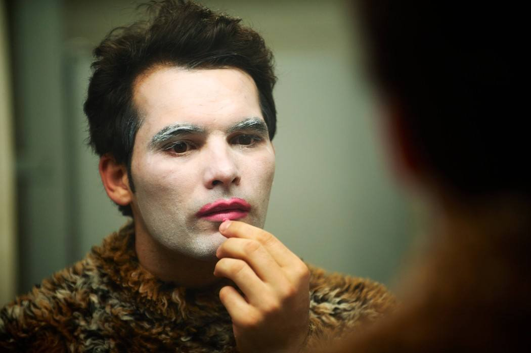 Jason (Johnathan Sousa) puts on his clown make-up in The Animal Project | Photo by John Gundy.